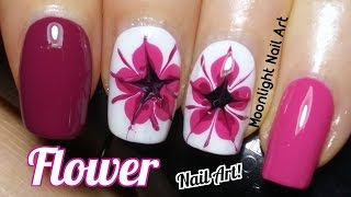 Drag Dry Marble Flower Nail Art Tutorial