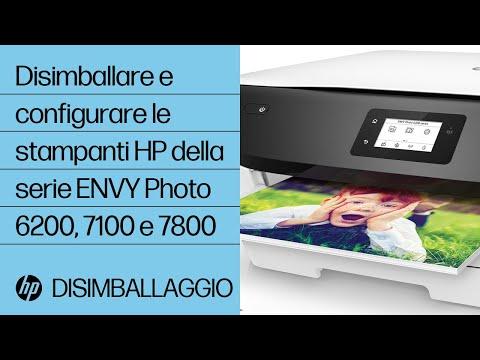 Disimballare e configurare le stampanti HP della serie ENVY Photo 6200, 7100 e 7800