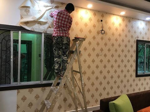 How to Wallpaper Pasting in Living Room Wall 2019 | Living Room wall Decor Ideas 2019.