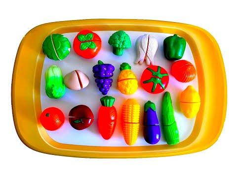 Impara i Nomi di Frutta e Verdura Giocando! Set di Giocattoli con Velcro da Tagliare! Per bambini