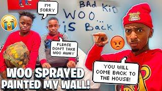 WOO SPRAYED PAINTED MY WALL! (IM SENDING HIM BACK HOME ALREADY)💔