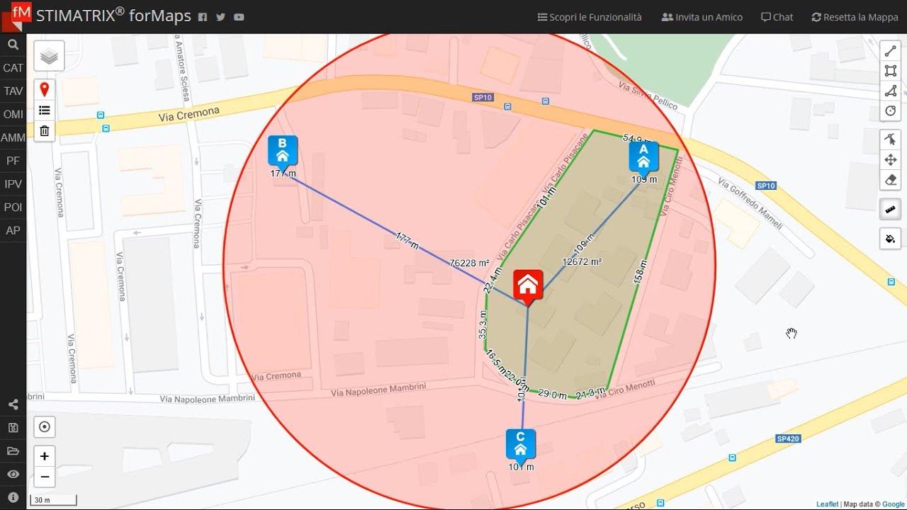 Disegno e misurazioni su mappa con STIMATRIX® forMaps