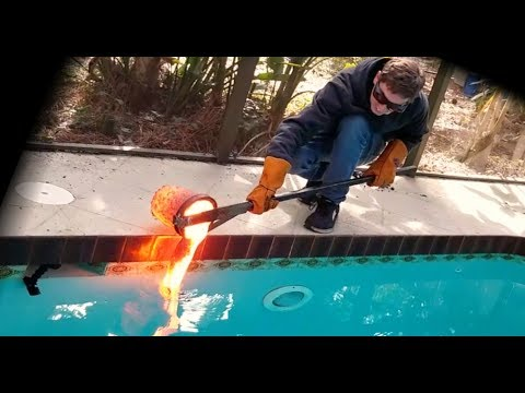Pouring Homemade Lava Into a Swimming Pool
