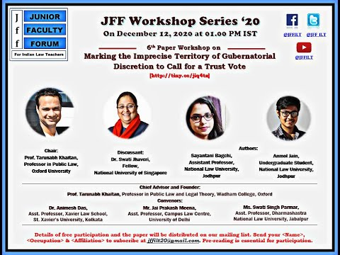 Junior Faculty Forum for Indian Law Teachers 5th Research Paper Workshop | 12 December 2020