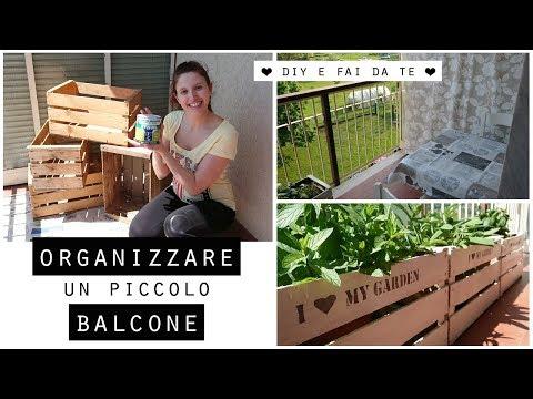 Come ORGANIZZARE un piccolo BALCONE spendendo poco/Arredamento FAI DA TE  e DIY da giardino