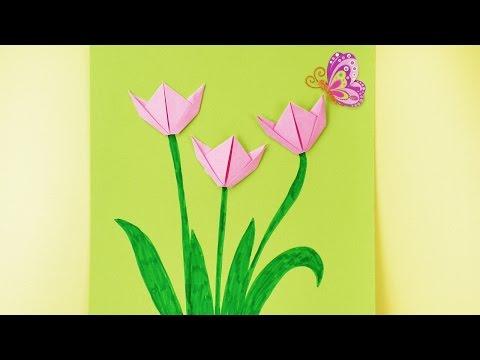 Frühlings Origami für Kinder - So faltet ihr schöne Tulpen