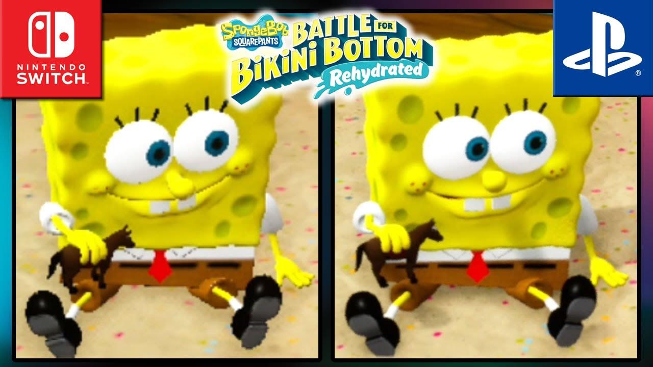 Spongebob SquarePants: Battle for Bikini Bottom: Rehydrated   Switch VS PS4   Graphics Comparison & Frame Rate