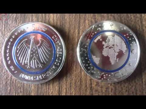 ERSTE DEUTSCHE 5 Euro Münze - Blauer Planet Erde / Planet Earth / Blue Planet