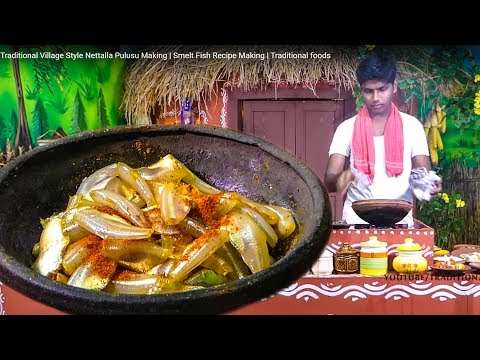 Traditional Village Style Nettalla Pulusu Making | Smelt Fish Recipe Making | Traditional foods