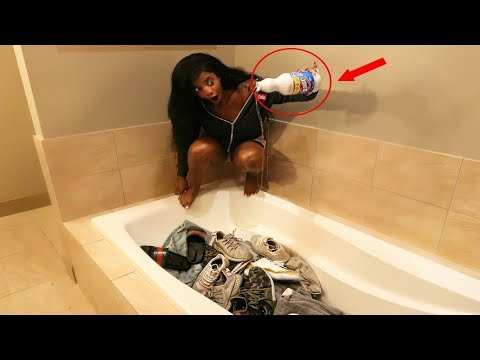 BLEACHING ALL OF HIS CLOTHES & SHOES PRANK (gone wrong!!!)
