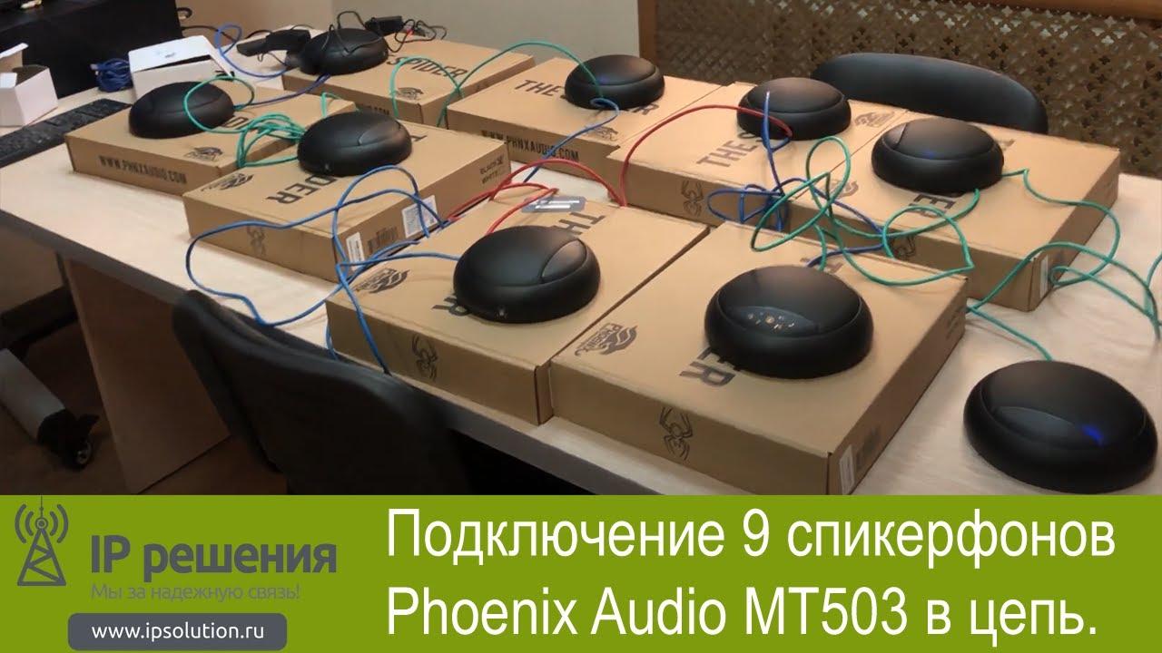 Подключение 9 спикерфонов Phoenix Audio MT503 в цепь