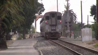 preview picture of video 'Amtrak Pacific Surfliner and Coast Starlight in Ventura, CA'