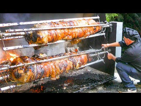 2 WHOLE 105 Kg PIGS Roasted 22 Hours, Cut and Prepared. Italy Street Food
