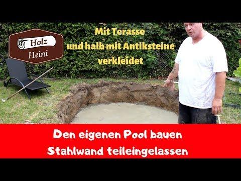 Poolbau 1 /3 - Stahlwandpool  eingelassen mit Terrasse  - Ausgraben und Bodenplatte