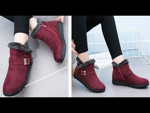Женские зимние ботинки с пряжкой на молнии теплые короткие плюшевые ботильоны на меху