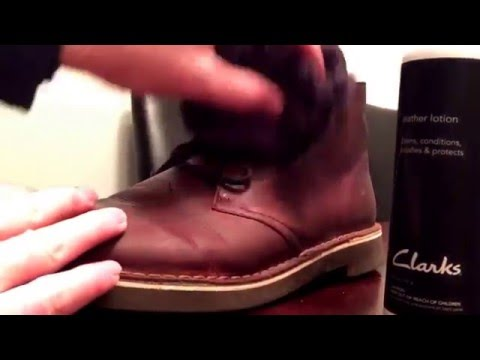 Video Clarks Boots Leather Lotion Tutorial - How To Treat Leather