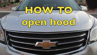 How to Open Hood latch Chevy Traverse 2009 2010 2011 2012 2013 2014 2015 2016 2017 Chevrolet