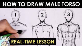 How To Draw Male Torso Three Different Ways