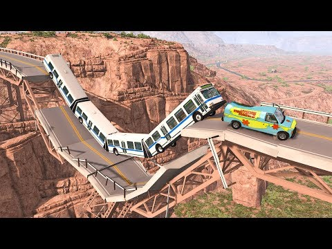Collapsing Bridge Pileup Car Crashes #27 - BeamNG DRIVE | SmashChan