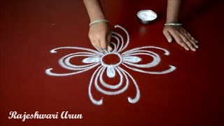 simple rangoli designs without dots || how to draw a flower without colours || kolam muggulu