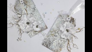 Beautiful Mixed Media Winter Wonderland Christmas Gift Tag Duo   Christmas Handmade Gift Tags