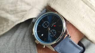 Sem Lewis Metropolitan Finchley chronograaf herenhorloge zilvergrijs/blauw