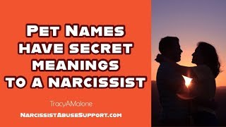 Pet names have secret meanings to a narcissist