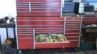 n scale train layout in a Snap-On tool box drawer
