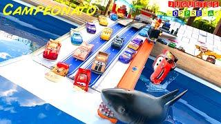 DISNEY CARS FLORIDA SPEEDWAY CAMPEONATO POOL 🏎🦈💦🚙  Carros de Carrera para niños  Pista de Coches