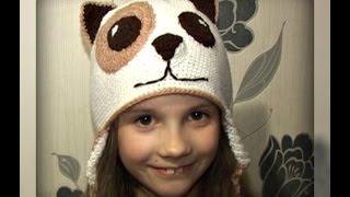 осенняя шапочка -  собачка, на 8 лет, вязание крючком