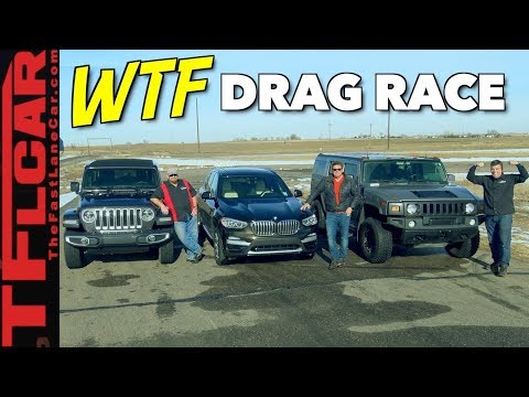 Not Even Close! 2018 Jeep Wrangler vs Hummer H2 vs BMW X3 Drag Race