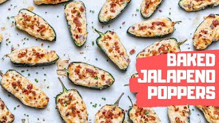 Baked Jalapeno Poppers Recipe - Stuffed Jalapeno Peppers With Cream Cheese And Bacon (Keto)