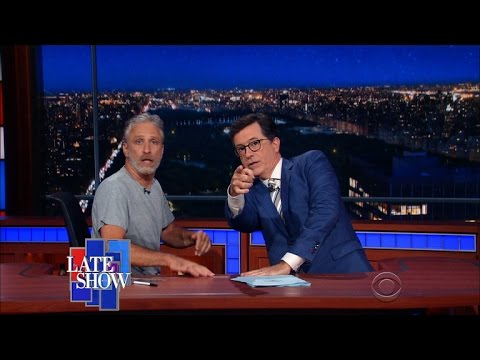 Jon Stewart Takes Over Colbert's Late Show Desk