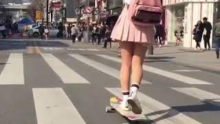 Cute Japanese Girl Lonboarding (Kawaii Desu) on Tokyo