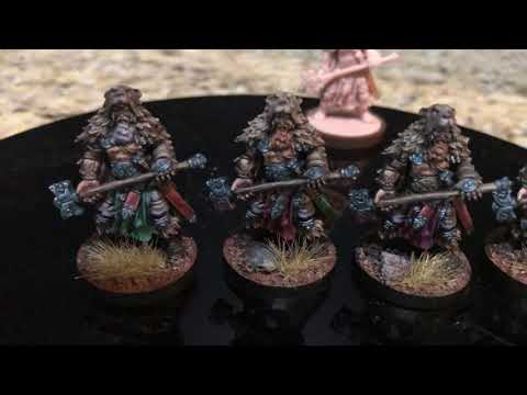 Blood Rage Custom Painted Troll and Bear Clan Warriors