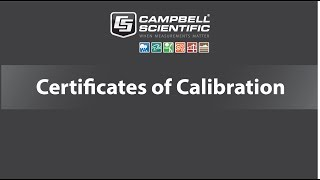 certificates of calibration