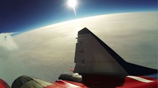 Race Car driver Josh Cartu doing Stratosphere Flight in Supersonic Fighter Jet