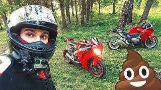 Заехали в лес на спортивных мотоциклах - Мотоциклист НАЕХАЛ НА ГОВНО :D