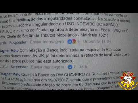 Wagnew o fiscal do Povo responde o Jornal Agora é Sério pelas redes Sociais sobre os Comércios que engoliram as calçadas