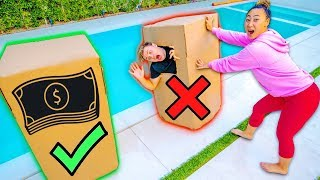 Video DON'T PUSH THE WRONG BOX IN THE POOL!! ($10,000 DOLLAR CHALLENGE) MP3, 3GP, MP4, WEBM, AVI, FLV Agustus 2019