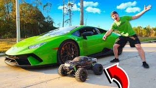MY LAMBORGHINI vs 100MPH RC CAR RACE!