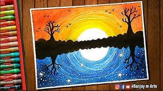 ᐅ Descargar Mp3 De Day And Night Scenery Drawing For Beginners With