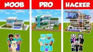 Minecraft Noob Vs Pro Vs Hacker Safest Family House Build Challenge In Minecraft Animation Minecraftvideos Tv