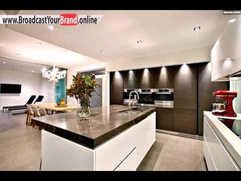 Wohnideen Küche Modern Weiß Braun Marmor Arbeitsplatte