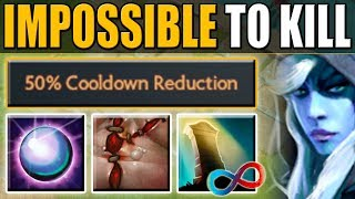 How to Abuse 50% Cooldown Reduction in Ability Draft [Infinite Reincarnation + Dispersion] Dota 2