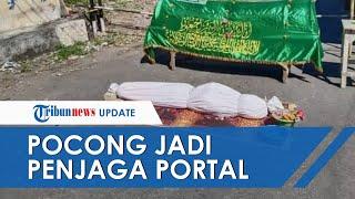 Antisipasi Corona, Viral Unggahan Pocong dan Keranda Mayat Jadi Penjaga Portal Jalan Dusun di Kediri