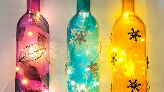 DIY Bottle Art - Quick And Easy Decorated Light Up Bottles