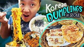 Korean Kimchi DUMPLINGS & SEAFOOD NOODLES | Tour of Ikseon-dong Seoul South Korea