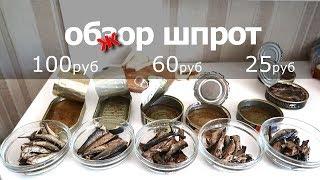 обзЖор шпрот. от 25 -до 100 рублей.