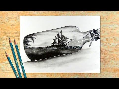 drawing scenary in a bottle by modern art gallery